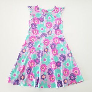 Jumping Beans Purple Pink Teal Floral Dress Size 7